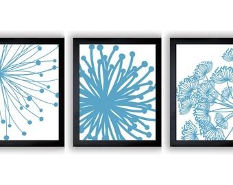 Blue White Flower Print Flowers Dandelion Set of 3 Art Prints Wall Decor Bathroom Modern Minimalist
