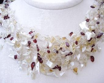 Hochzeit Halskette, weiß gelb Wein rote Edelsteine, Sommer Hochzeiten, natürlichen Edelstein-Schmuck, böhmische Silber Draht gewickelt romantische Heirloom