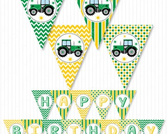 Tractor Birthday Banners, Tractor bunting flags, Tractor birthday, Tractor party, Digital Printable File, INSTANT DOWNLOAD