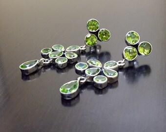 Art Deco Earrings - Peridot Drop Earrings - Peridot Dangling Earrings - Pear Shape Earrings - Chandelier Earrings - Bezel Set Earrings