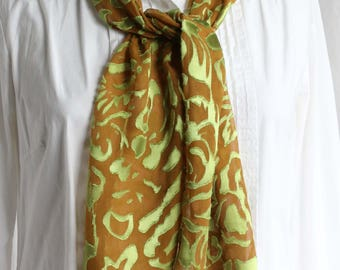 Mother's Day, On Sale** Burnout Devore Satin, Hand painted, Silk Scarf