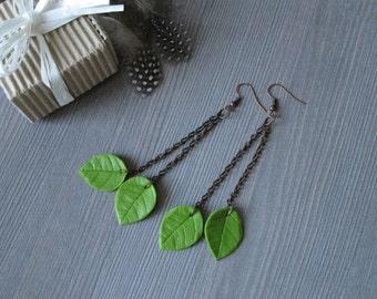 Green leaves earrings long chain earrings nature lover gift for sister from sister earrings leaf drop earrings botanical dangle earrings