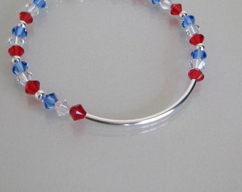 Fourth of July Bracelet, Patriotic Bracelet, Red White and Blue Bracelet, Fourth of July Jewelry, Red White and Blue Jewelry