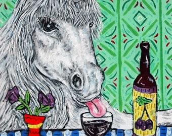 25% off UNICORN print-  print, unicorn art,wine,wine art, wine print, gift, modern folk art