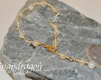 White moonstone wire wrapped link bracelet