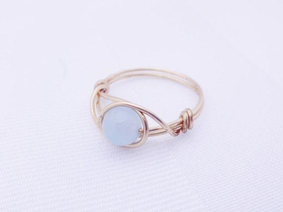 Candy-blauen Edelstein-Ring blauer Stein-Ring Drahtring
