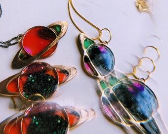 feelin' ~spacey~ Resin Cast Pendant, Goldtone Necklace