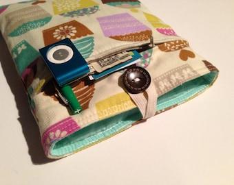Kindle Fire Case - eReader Case - Bonus Front Pocket Cupcakes / Mint Green