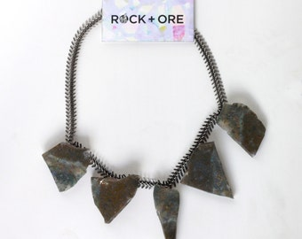 Raw Moss Agate Slice Slab Necklace with Fishbone Chain