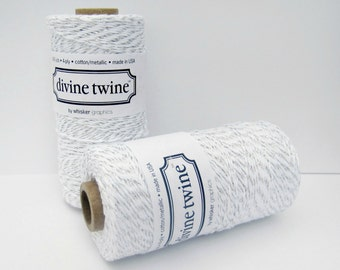 Silver MetallicTwine, Silver Divine Twine- full spool, 240 yards, silver and white, cotton string, bakers twine,  packaging supply, made USA