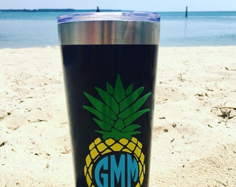 Monogrammed Pineapple Decal Tumbler
