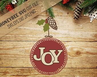 Joy Round Ornament svg Christmas svg Christmas decor svg Holiday decor svg Holiday svg Silhouette svg Cricut svg eps dxf