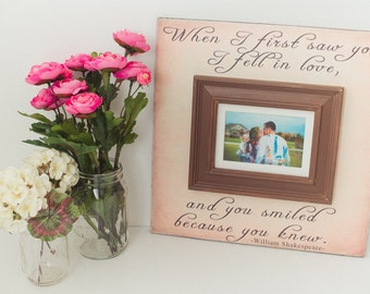 Wedding Picture Frame Wedding Sign Anniversary Gift Wedding Gift Personalized Frame Quote on Frame