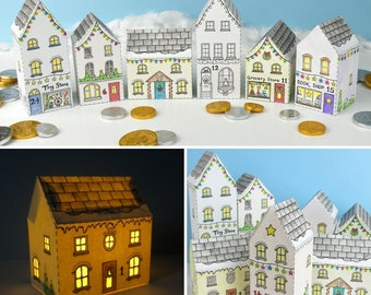 Advent Calendar Town Printable house boxes - colour in DIY kit, countdown to Christmas, gift boxes - Digital Instant Download B5007