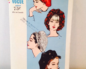 Vintage 1960's Vogue Sewing Pattern 6242, Hat, Softly Gathered Snood Type Beret with Self or Ribbon Ties