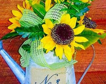 Sunflowers, Yellow Sunflowers, Yellow Centerpieces, Green ribbons, Sunflower Centerpiece, Watering Can Centerpiece