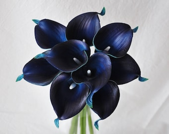 Real Touch Navy Picasso Calla Lilies for Bridal Bouquets, Wedding Centerpieces, Home Decorations, Boutonnieres, Corsage Faux Callas