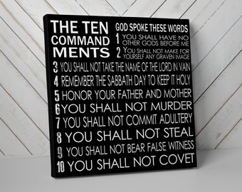 Christian Art, Ten Commandments Canvas Wall Art