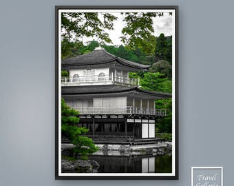 Japanese Golden Temple Wall Art Print Poster - Japan / Kyoto / Modern / Buddhist / Abstract / Green / Ink / Grey