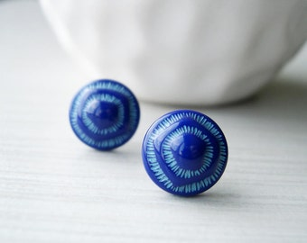 Royal Blue Stud Earrings - Nickel Free Jewelry, Retro, Mod, Glass, Geometric