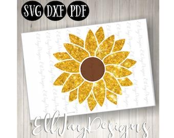 Flower monogram svg, sunflower svg, sunflower cut files, sunflower monogram, circle middle sunflower svg, circle frame, silhouette cut files
