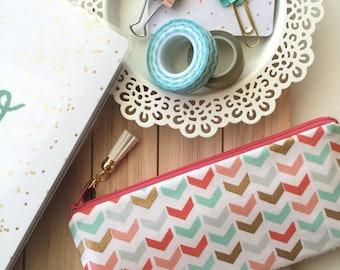 Coral pencil pouch - mint pencil case - arrows zipper pouch - gold planner accessories - mint pen pouch - tassel charm - BUJO bag - arrows