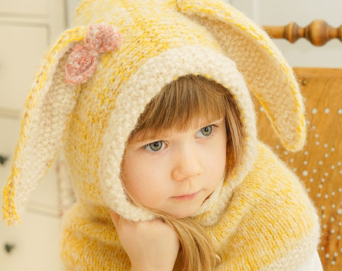 KNITTING PATTERN bunny hooded cowl Rabbit Windsor (baby, toddler, child, adult sizes)