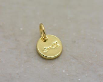 1 - Arrow Charm 24K GOLD Plated 10mm Round Disc Arrow Symbol Stamped Charm Small Minimal Personalized Adventure Jewelry Supplies