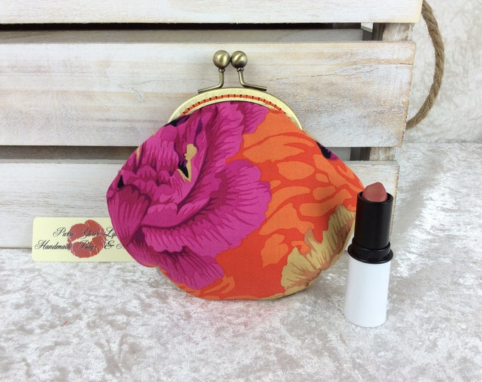 Peony coin purse wallet fabric kiss clasp frame wallet change pouch handmade Alexander Henry Brocade Peony