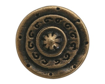 2 Gladiator 1 inch ( 25 mm ) Dill Metal Buttons Antique Brass Color