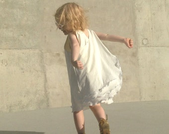 Girls Summer Beach Dress with Ivory Layers