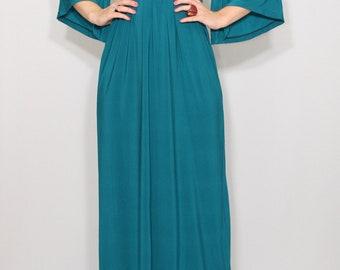 Teal dress women Maxi dress Empire waist dress Kimono dress Women Long dress Teal blue