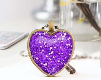Purple heart necklace, Glitter heart necklace, Long bronze necklace, Heart pendant, Love Gift for mon, Glass dome jewelry, 5052-S17