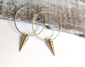 Gold Hoop Spike Earrings, Gold Spike Earrings, Gold Hoop Earrings, Silver Hoop Spike Earrings, Silver Spike Earrings, Silver Hoops