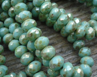 Mint picasso rondelle beads, turquoise green Czech rondelles with picasso finish 7x5mm