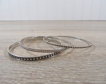 3 sterling silver bangles - all for one price- gently used- ready to wear- accessories-jewelry