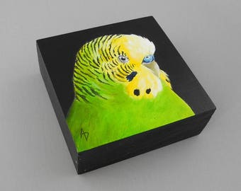 Green Parakeet painting - yellow and green budgie - bird pet portrait - budgerigar Australia wildlife - pet bird painting - original art