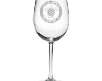 Custom Coordinates Sea Turtle All Purpose Wine Glasses S/4, Latitude Longitude Glassware, Custom Barware