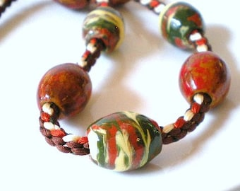 Necklace - Kumihimo Japanese Braided Silk Cord, Hand Painted Wood Beads in Fall Colors, Autumn Necklace, Fall Jewerly
