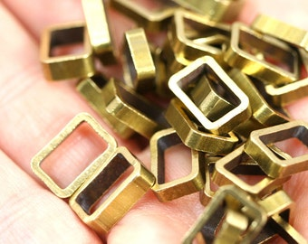 """Rectangle Bead spacer 10 pcs L225 Raw Brass  8 x 12 x 2,5 mm 0,314"""" x 0,47"""" x 0,1  finding industrial design bab611"""