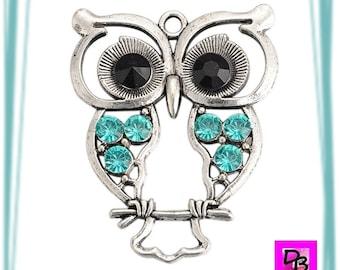 Large OWL Style pendant combines 45 mm x 1 Aquamarine rhinestone antiqued silver