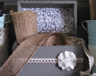 Painted Wood Box, Farmhouse Decor, Rustic Decor Box, Mothers Day Gift, Bridal Gift