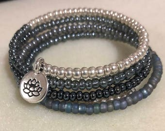 Mixed beads memory wire  bracelet