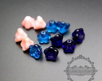 12pcs 6x8mm pink,blue glass flower loose beads DIY beading supplies findings 3070077