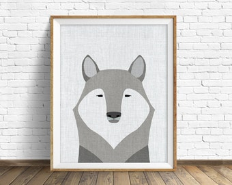 Gray Wolf - art print, large art, mid century modern wall art, art for kids, nursery decor, nursery wall art, animal prints, animal wall art