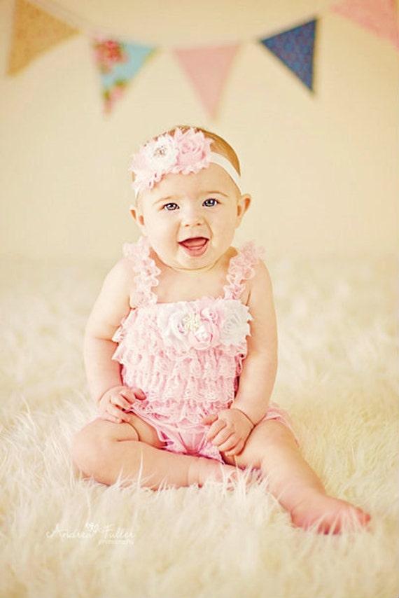 2e172c387 New Petti Romper Headband SET Pink Lace romper & baby headband YU33