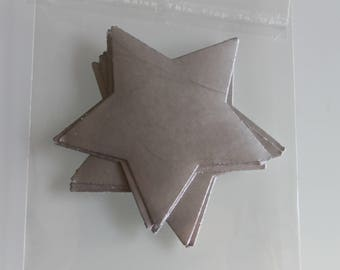 Silver Stars 5 cm ready to stick 10 stickers