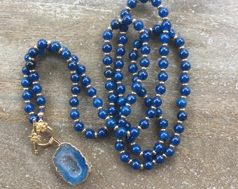 FINAL SALE - Blue Agate Druzy Mala