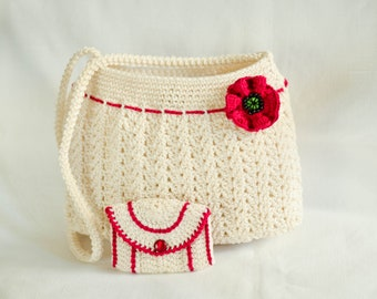 White knitted bag with poppy flower detail and wallet (red strip)