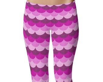 Leggings Mermaid Pink, Mermaid Scale Tights Women, Scale Leggings, Pink Dragon Scale Yoga Pants